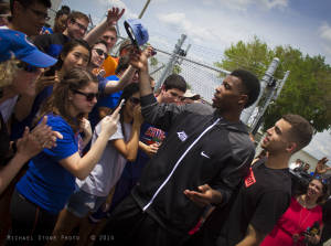 UF basketball players Casey Prather (holding hat) and Scottie Wilbekin after the Final Four (Gainesville, Florida, 2014)