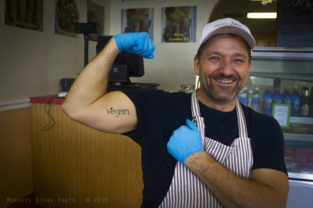 Michael Garrett, owner of Vegan2Go restaurant (Gainesville, Florida, 2015)